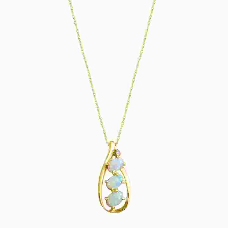 Three Stone Opal Oval Necklace
