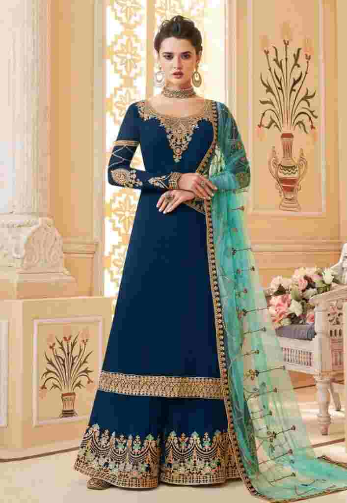 Blue Georgette Embroidered Palazzo
